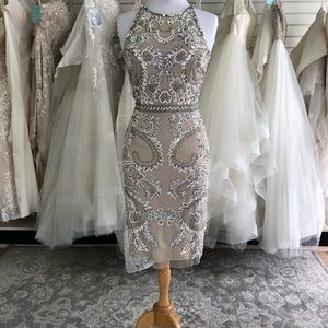 Adrianna Papell Beaded Champagne Midi Dress